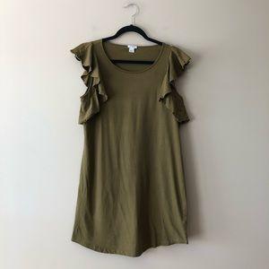 J. Crew Factory olive green flutter sleeve dress